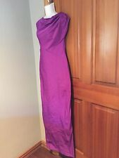 VERA WANG TAFFETA PURPLE FUCHSIA LONG SLEEVELESS GOWN  COUTURE SIZE 8 /42  NEW