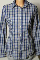benetton Bluse Gr. S blau-weiß kariert Baumwolle Karo Langarm Bluse/Hemd