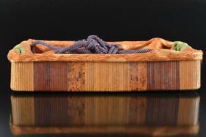 L1456: Japanese Old Wooden Fabric TEA CEREMONY BOX Chabako Tea Ceremony