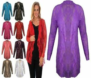 Womens Front Open Floral Long Sleeve Waterfall Cardigan Ladies Top Plus Size