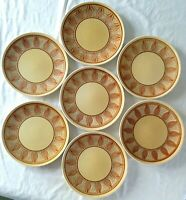 "6 Taylor Smith Taylor Honey Gold dinner plates + 1 Anchor Hocking 10-3/8"" onion"