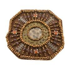 brown beaded diamante applique octagon design vtg unusual style handmade motif