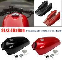 9L/2.4 Gallon Universal Motorcycle Cafe Racer Vintage Fuel Gas Tank & Cap Set