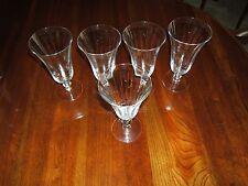 "~ VINTAGE LOT OF 5 DRINKING CRYSTAL CLEAR DRINKING GLASSWARE 7""TALL ~"