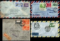 South America1930 - 1960's 4 Airmail Covers Peru Bolivia Brazil