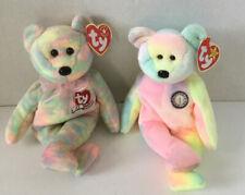 2 Beanie Babies Tie-Dye Teddy Bears: Celebrate & B.B. Bear Retired!