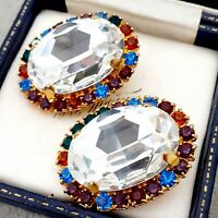Vintage 1980s Huge Oval Diamante Crystal Glass Clip on Goldtone Earrings