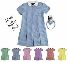 Girls A-Line Gingham Dress School Uniform Summer Dress Alice Band & Scrunchie