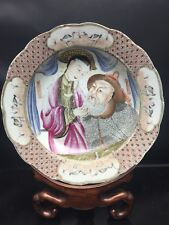Insolite antique CHINESE/CANTONESE familles Rose Plaque 18th Siècle