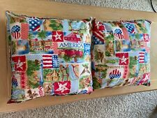 Large Decorative Throw Pillows - Set Of Two - Americana Print - 16 X 16 Inches