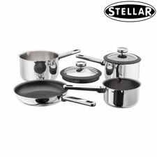 Stellar Stay Cool Stainless Steel Non-Stick Set of 4 Induction Saucepan Frypan