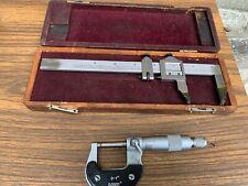 Starrett No122 Vernier Caliper Gauge 6 With Wood Case Amp 0 1 Micrometer 1796