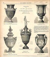 Vases de Sèvres pour le Musée du Louvre & l'Opéra de Paris Garnier GRAVURE 1876