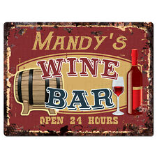 PWWB0475 MANDY'S WINE BAR OPEN 24Hr Rustic Tin Chic Sign Home Decor Gift