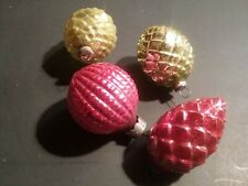 4 Vintage antique christmas feather tree ornaments bumpy red chartreuse pinecone