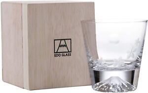 Edo Glass Fujisan Glass Mt.Fuji Moon and Sakura Old-fashioned Glass 270ml Japan