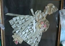 VINTAGE LACE RIBBONS BRIDE BRIDESMAID HANDMADE GLASS FRAMED FOLK ART PICTURE