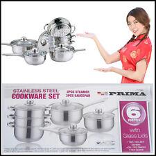 6 Cooking Pan Set PRIMA Stainless-Steel Steamer Saucepans Pots Kitchen Pans Set