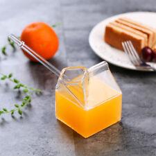 Creative Clear Glass Milk Box Shape Creamer Dish Milk Cup Drink Mug 2017 Hot