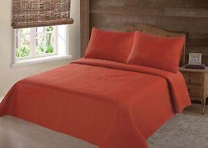 2/3PC ORANGE NENA BED BEDSPREAD QUILT SET COVERLET STIPPLING STITCHE IN 4 SIZES
