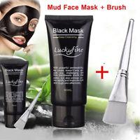 Blackhead Remover Nose Face Mask Pore Acne Cleansing Black Mud + Brush