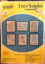 """Love"" WonderArt Linen Sampler to Embroider #1817 Made in USA NOS"