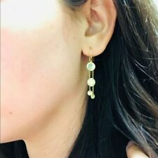 NWT 14K Solid Yellow Gold Double Disk Dangle Fishwire Hook Earrings