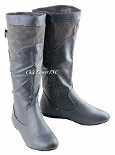 Women Tall Shaft Knee High Color Causal Faux Leather Boots Low Flat Heels Winter
