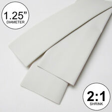 "1.25"" ID White Heat Shrink Tubing 2:1 ratio 1-1/4"" wrap (2 feet) inch/ft/to 30mm"