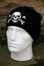 Skull & Cross Bones-Negro-Beanie-Reloj de la PAC-Ski-Sombrero del invierno-Pirata