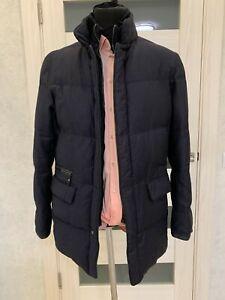 RRP ~1500$ BRIONI Wool Leather Details Men Down Jacket Coat Parka Size L