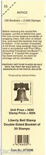 DECK LABEL - LIBERTY BELL- 20 NDN Stamp Double-Sided Booklet. Tab #15, #676600