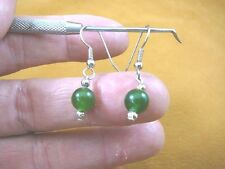 (ee404-40) 8 mm Green Jade Canada gemstone 1 bead + silver beads dangle earrings