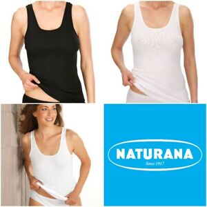 Naturana Women's Pack of 2 Cotton Build Up Shoulder Vest 802529 S-5XL RRP £15.95