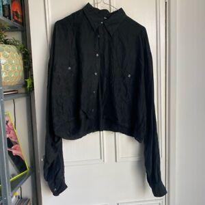 Vintage Black 100% Silk Cropped Shirt M