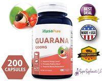 GUARANA EXTRACT 1200 mg 200 Capsules Natural Caffeine Pills Fat Burn Weight Loss