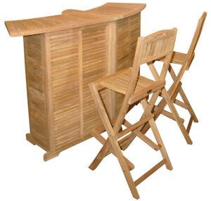 KMH® Teak Gartentheke Gartenbar Theke Tresen Barstuhl Barhocker klappbar Holz