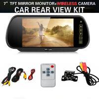 "7"" LCD Wireless Car Rear View Monitor Mirror Reverse Backup Camera Night Vision"
