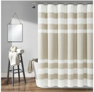 "Lush Decor, Taupe Cape Cod Stripe Yarn Dyed Cotton Shower Curtain, 72"" x 72"""