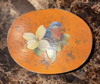 Vintage Hand Made Oval Wooden Trinket Box With Bird And Flower Decor In Top