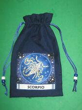"TAROT CARD BAG -""SCORPIO""- NAVY BLUE SILK-4 1/2"" x 6 1/2""-silk lining"
