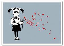 "BANKSY GAS MASK GIRL Petals *FRAMED* CANVAS ART - grey 18x12"""