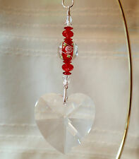=^.^= Suncatcher made with 40mm Swarovski Heart Crystal Red Floral Slver Logo