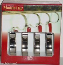 Christmas Mantle Stocking Clip Holder Bright Chrome Silver Metal Set of 4 ~ NIB