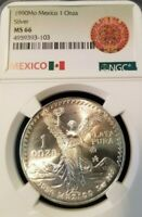 1990 MEXICO SILVER LIBERTAD 1 ONZA NGC MS 66 HIGH GRADE NICE TONING BEAUTIFUL !