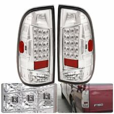 For 1997-2003 Ford F150 F250 Chrome Housing Led Clear Lens Rear Lamp Tail Light