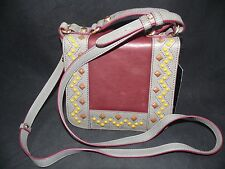 Treesje Women's Hymn Cross-Body purse handbag bag Burgundy Gray Beaded Leather