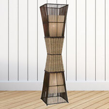 Stehleuchte Bamboo Stehlampe Standleuchte 130cm Bambus Korbgeflecht Stoff creme