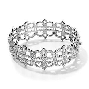 "Jean Dousset 4.62Ct Absolute ""Crown"" Silver Bangle Bracelet 7"" Hsn $399.95"