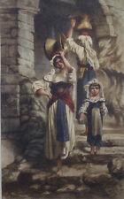 Porteuses d'eau en Italie ? école francaise,italienne signature 1860